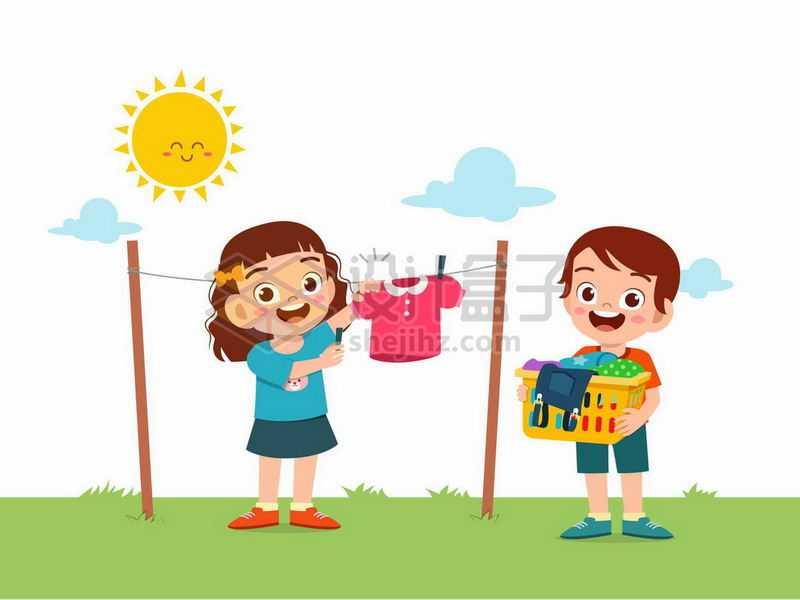 卡通女孩和男孩在太阳底下的晾衣绳上晾晒衣服7988174矢量图片免抠素材