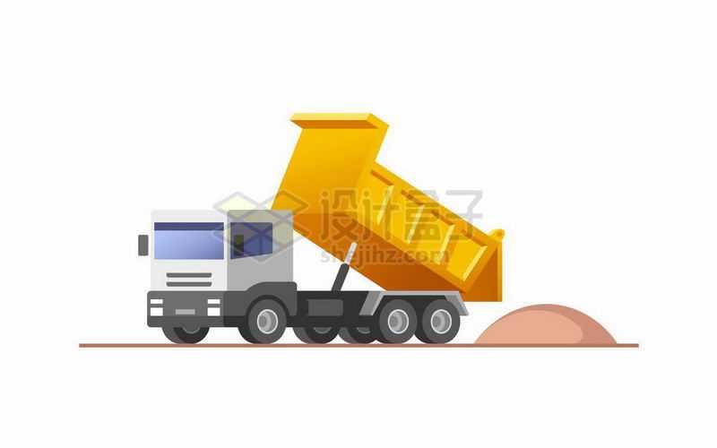 大型自卸卡车正在倾倒砂石砂土7710998矢量图片免抠素材