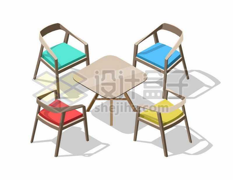 2.5D风格四张椅子和桌子6428475矢量图片免抠素材