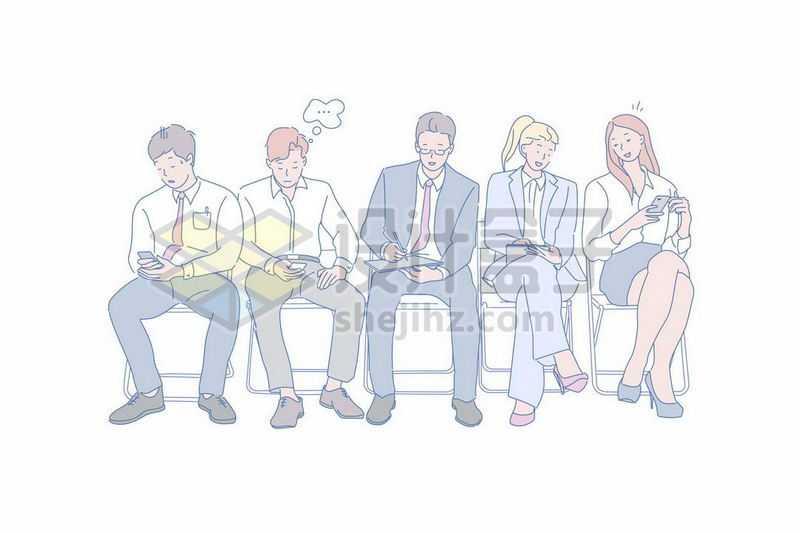 正在排队等待面试的年轻人求职者手绘插画4364549矢量图片免抠素材