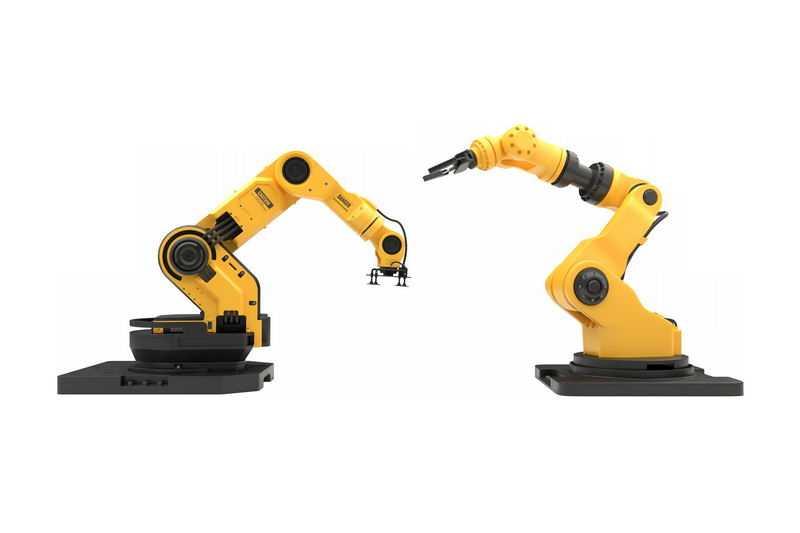 2台黄色的工业机器人机械手臂装配机器人1401756免抠图片素材