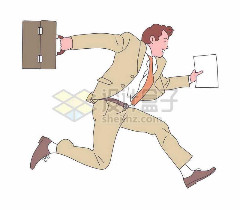 商务人士拎着包奔跑中上班要迟到了手绘插画1247878矢量图片免抠素材