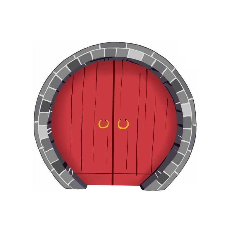 中国传统园林拱门和红漆大门6789405免抠图片素材