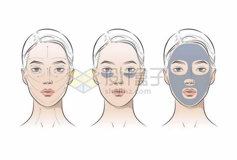 美女脸部按摩敷面膜示意图7317800矢量图片免抠素材