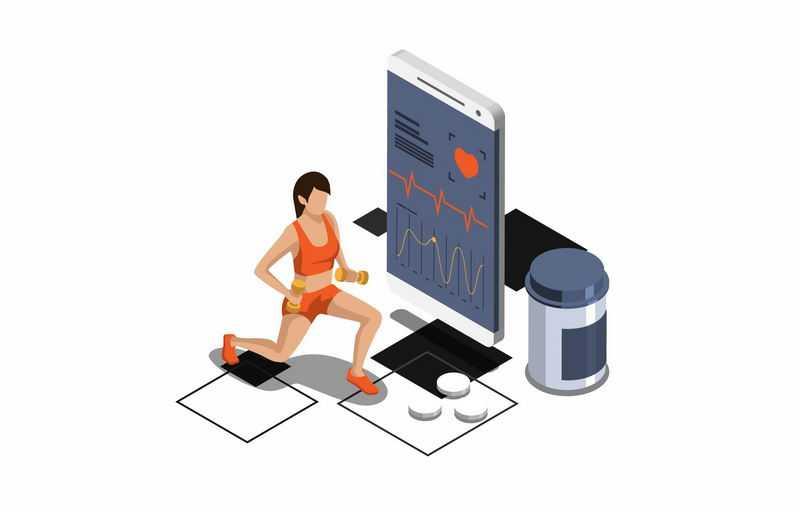 2.5D风格正在健身的女人和手机健身APP7280052图片免抠素材