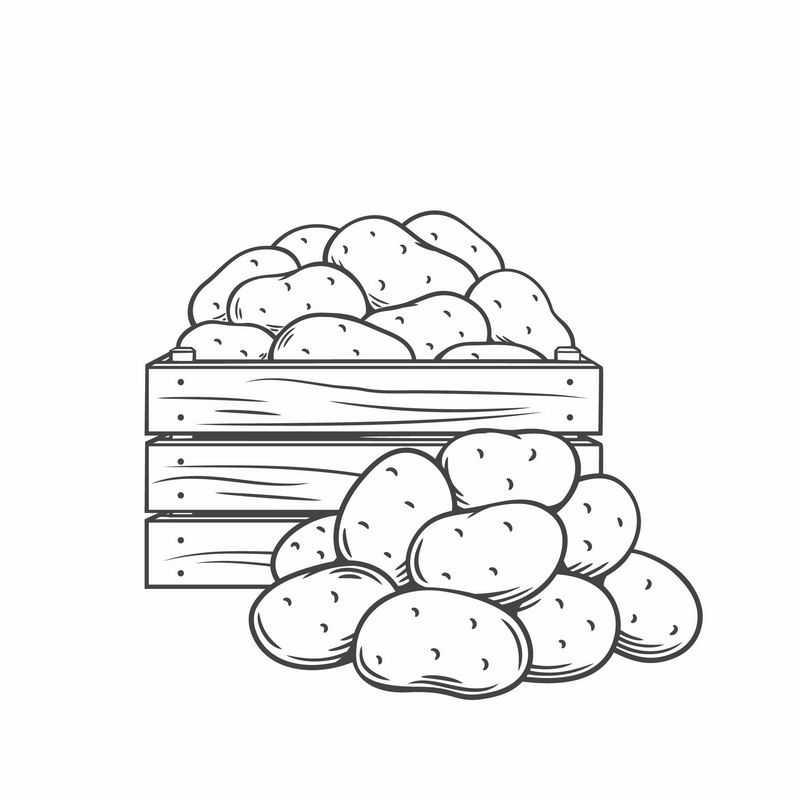 木头框中的土豆黑白插画7433012图片免抠素材