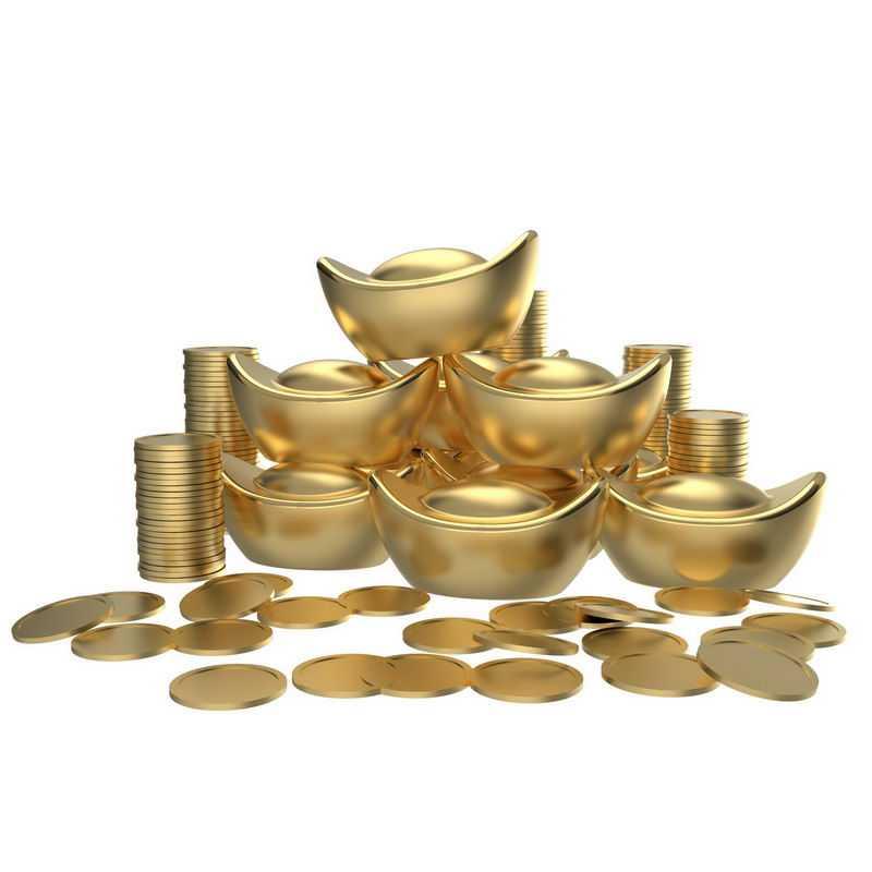 3D立体黄金元宝和金币大量的金子7334655png图片免抠素材