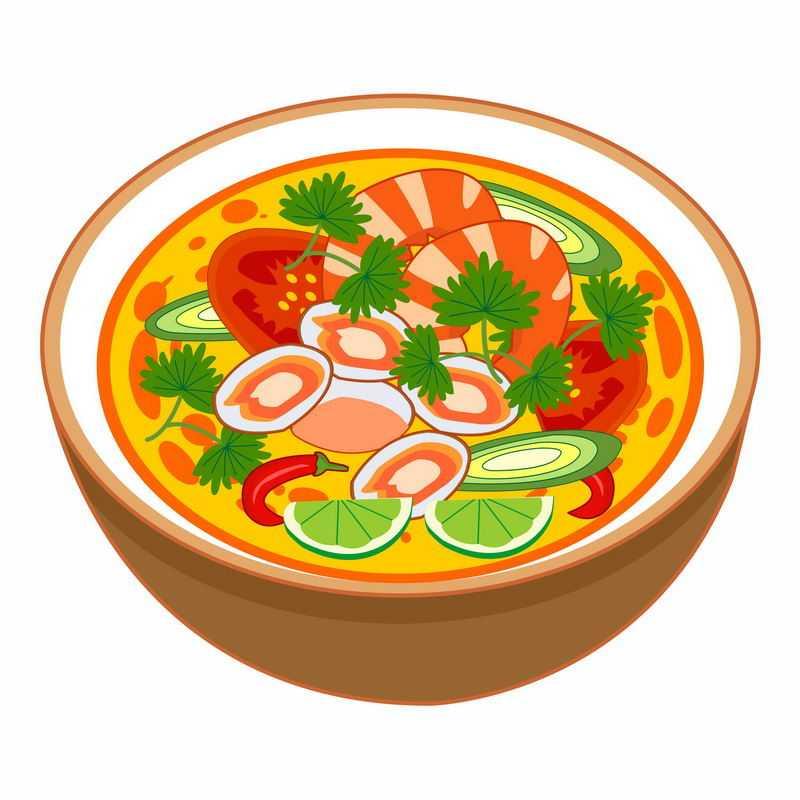 一碗美味的大虾花甲西红柿酸辣汤美食1830666矢量图片免抠素材