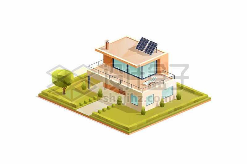 2.5D风格独栋别墅小楼房花园洋房1242193矢量图片免抠素材