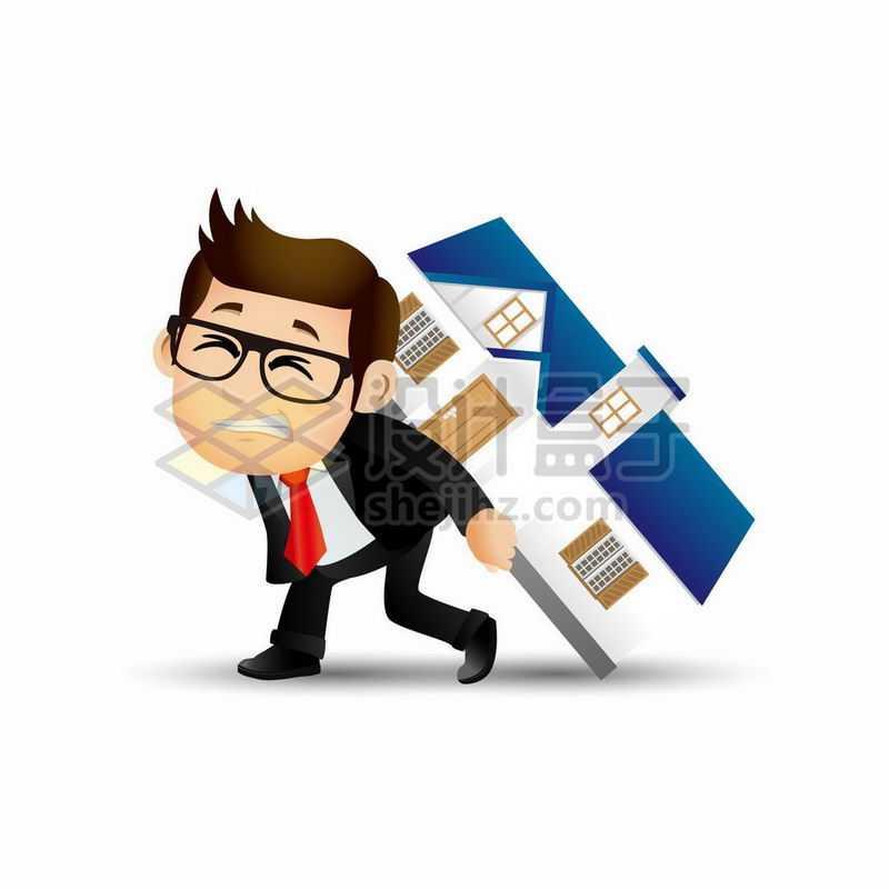 卡通男人背着房子象征了房贷问题压垮穷人7796586矢量图片免抠素材