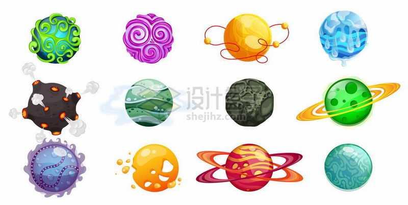 12款卡通星球行星2209003矢量图片免抠素材