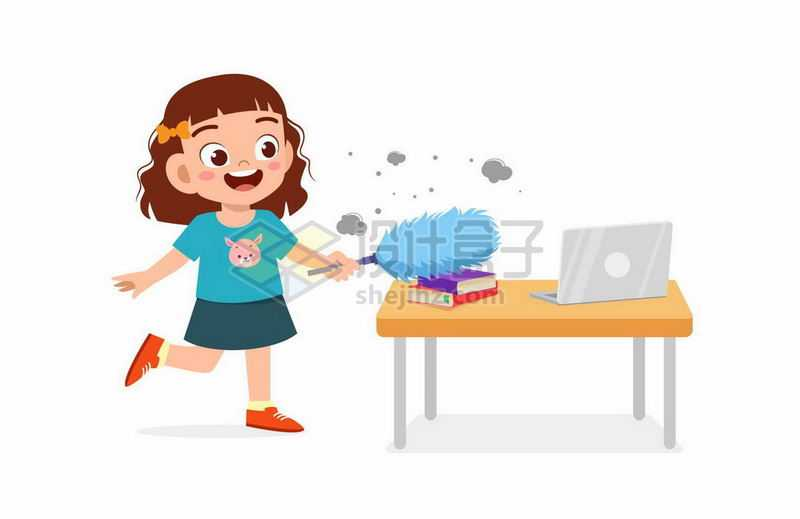 卡通女孩勤快的在用鸡毛掸子扫除灰尘打扫卫生3388030矢量图片免抠素材
