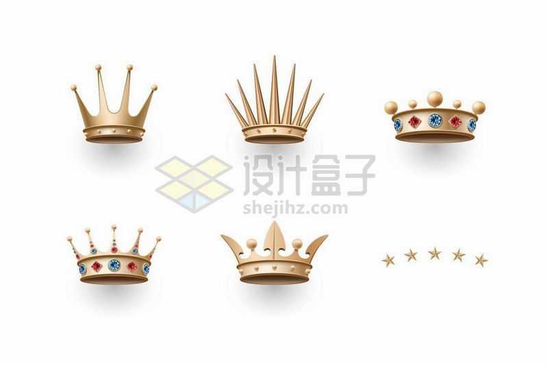 6款3D立体风格皇冠王冠3933283矢量图片免抠素材