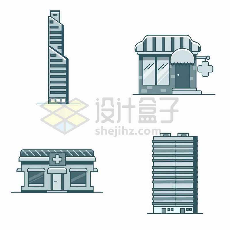 4款单色MBE风格的卡通高楼大厦商店医院等建筑2758937矢量图片免抠素材