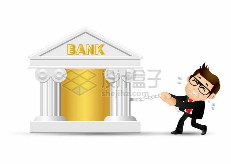 卡通男人想要挣脱银行的控制5282474矢量图片免抠素材