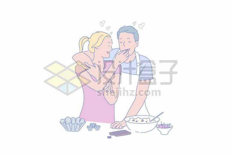 妻子正在喂老公吃东西温馨情侣手绘插画8435285矢量图片免抠素材