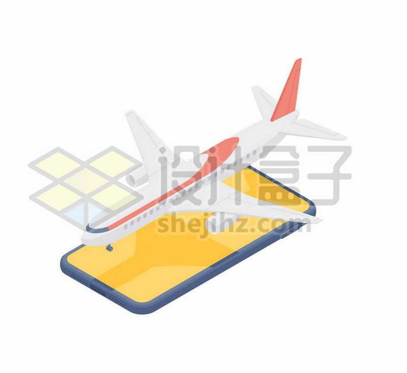 2.5D风格手机上的客机象征了网上订机票旅游APP6995979矢量图片免抠素材