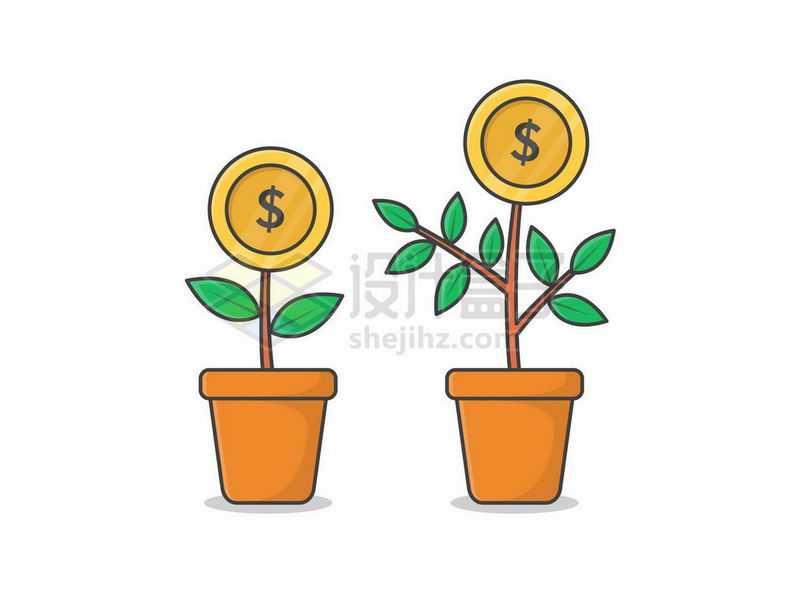 2个花盆里的金钱树摇钱树6024859矢量图片免抠素材