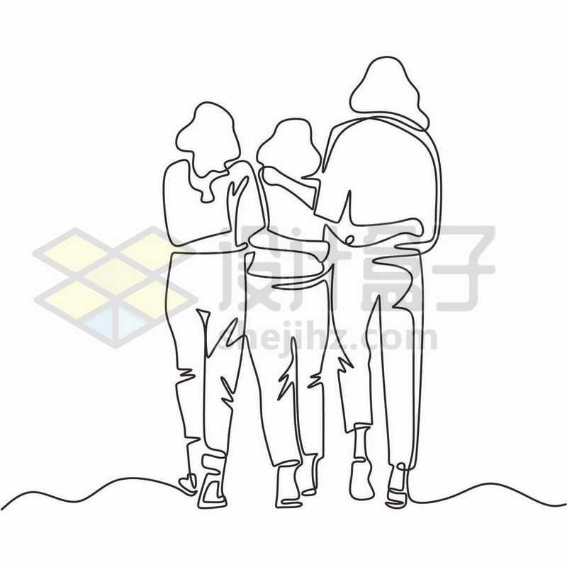 母亲和两个女儿肩并肩的背影线条插画6738193图片免抠素材