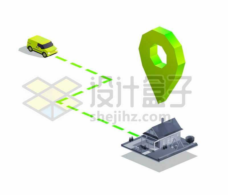2.5D风格汽车导航到房子1571369矢量图片免抠素材