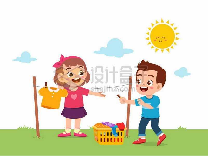 卡通女孩和男孩在太阳底下的晾衣绳上晾晒衣服8061213矢量图片免抠素材