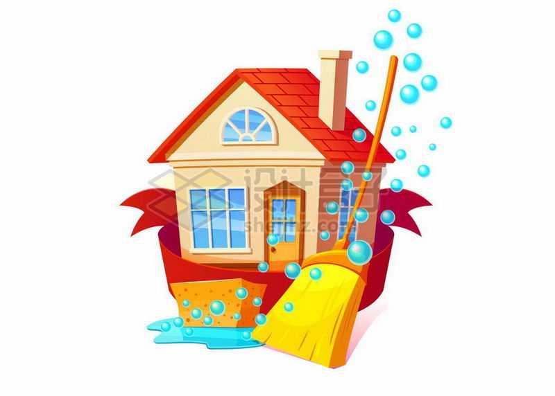 卡通房屋和扫帚以及冒起来的蓝色泡泡象征了打扫卫生大扫除8878799矢量图片免抠素材