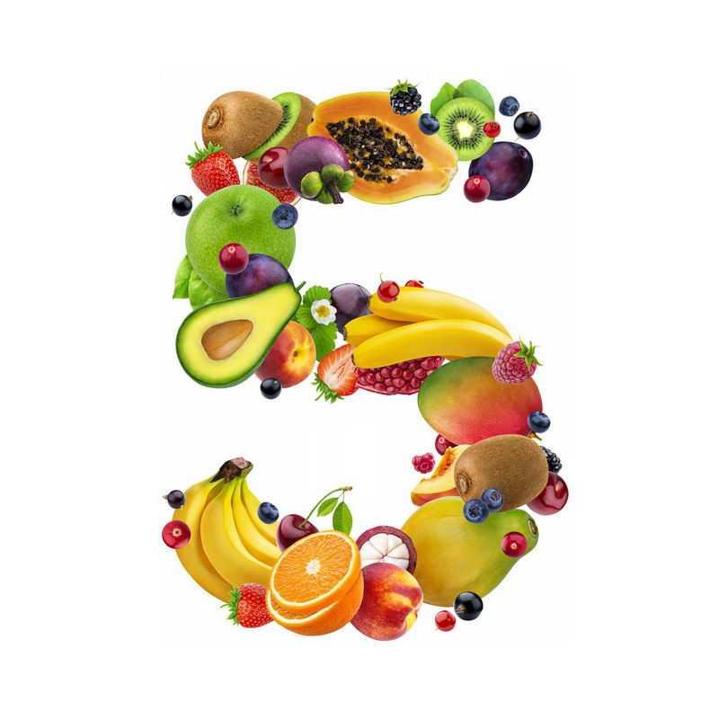 水果组成的数字5猕猴桃李子牛油果香蕉橙子桃子等2945436免抠图片素材