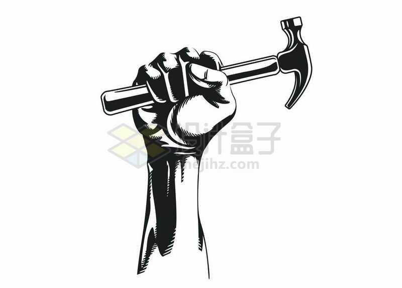 捏紧的拳头握着一把锤子劳动节劳动人民黑白插画5694661矢量图片免抠素材