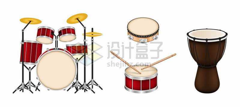 架子鼓爵士鼓非洲鼓等乐器5236920矢量图片免抠素材