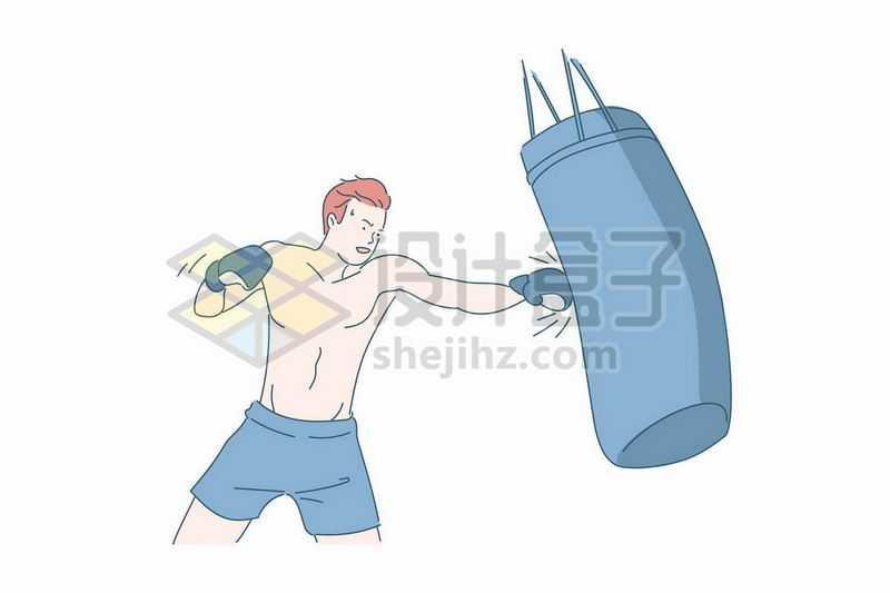 赤膊练习拳击的年轻人手绘插画1015956矢量图片免抠素材