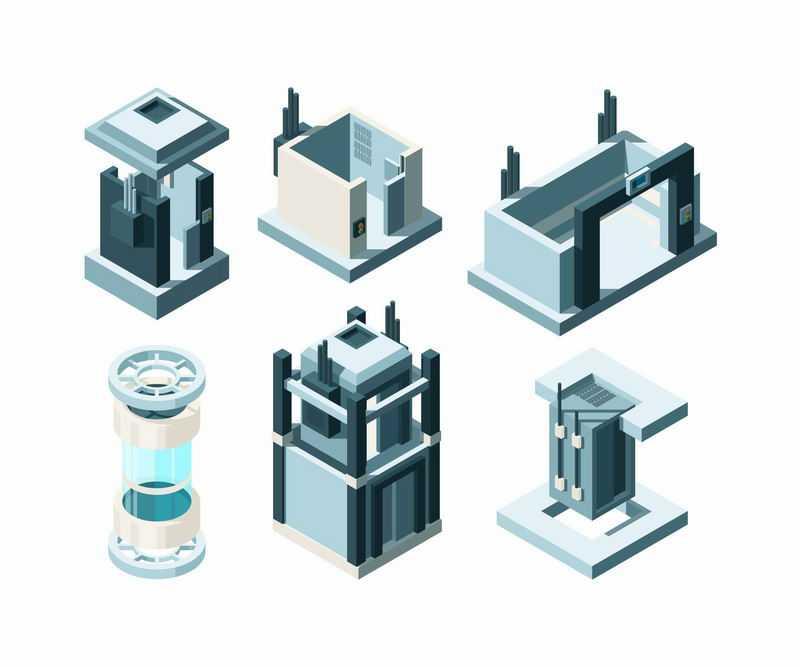 6款2.5D风格电梯井和建筑物结构示意图7742069图片免抠素材