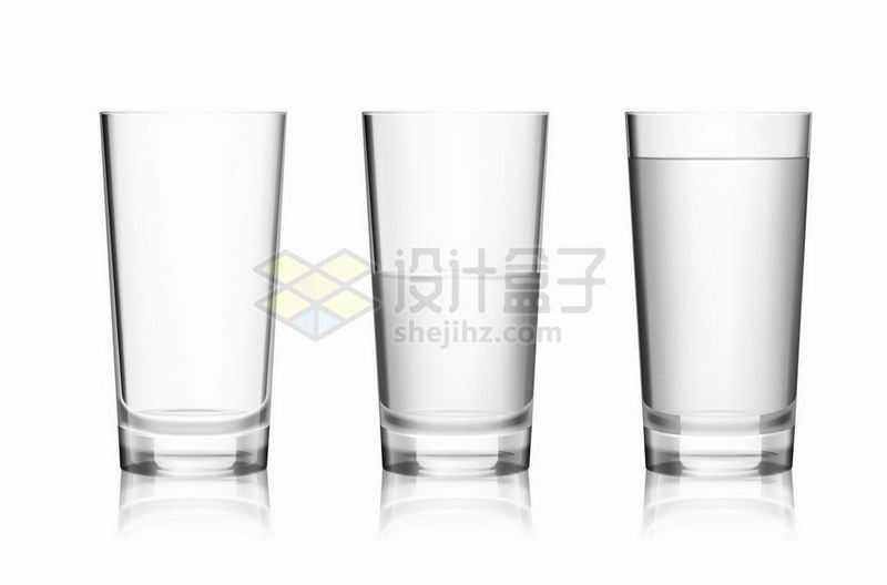 3个玻璃杯水杯中的不同高度的水5314067矢量图片免抠素材