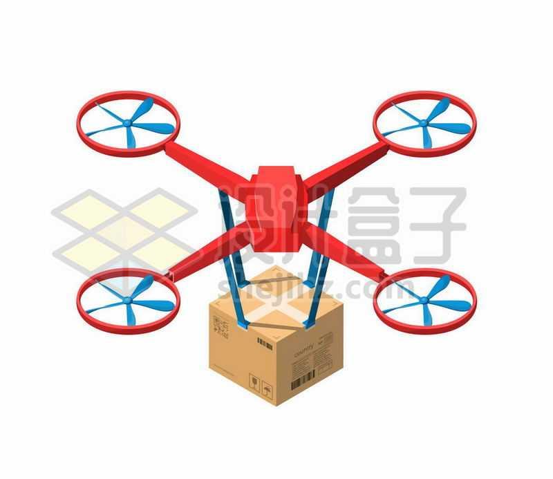 红色四轴无人机送货2773986矢量图片免抠素材