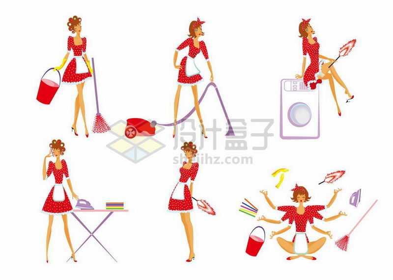 6款卡通性感女郎正在用扫帚吸尘器鸡毛掸子等打扫卫生6672472矢量图片免抠素材