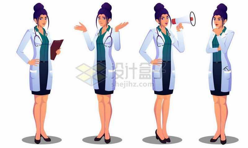 4款漫画风格卡通女医生2999020矢量图片免抠素材