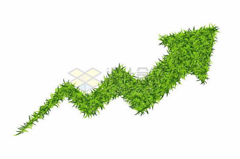 绿色草坪草地组成的折线箭头7068944矢量图片免抠素材 线条形状-第1张