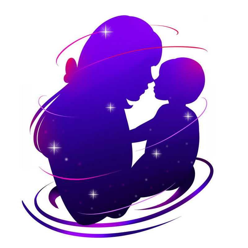 母亲节妈妈抱着孩子紫色剪影2377913免抠图片素材