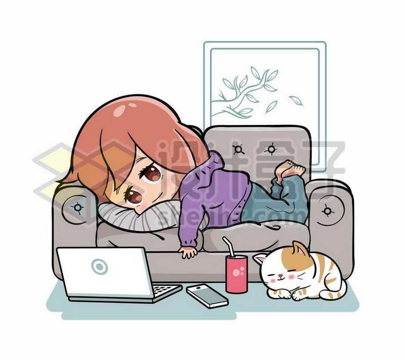 慵懒的卡通女孩趴在沙发上玩电脑4948546矢量图片免抠素材