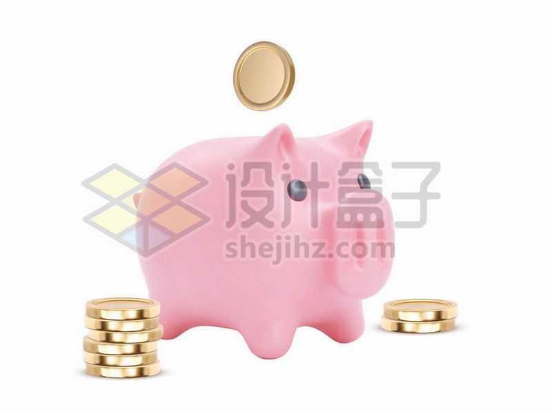 粉色的卡通小猪储蓄罐和金币8619195矢量图片免抠素材