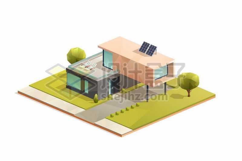 2.5D风格独栋别墅小楼房花园洋房5319857矢量图片免抠素材
