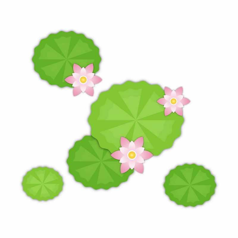 俯视视角的粉红色莲花和翠绿色莲叶简约插画3457805矢量图片免抠素材
