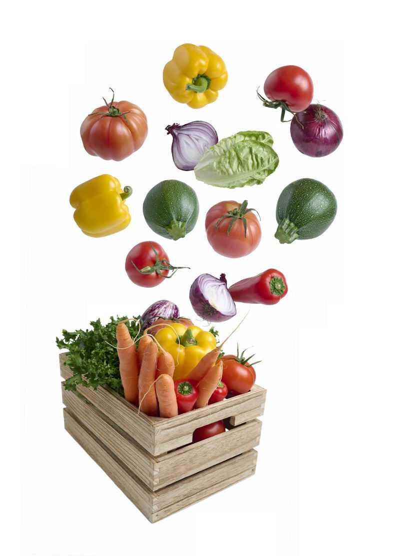 木框中飞起来的青椒西红柿洋葱胡萝卜等蔬菜5707450免抠图片素材