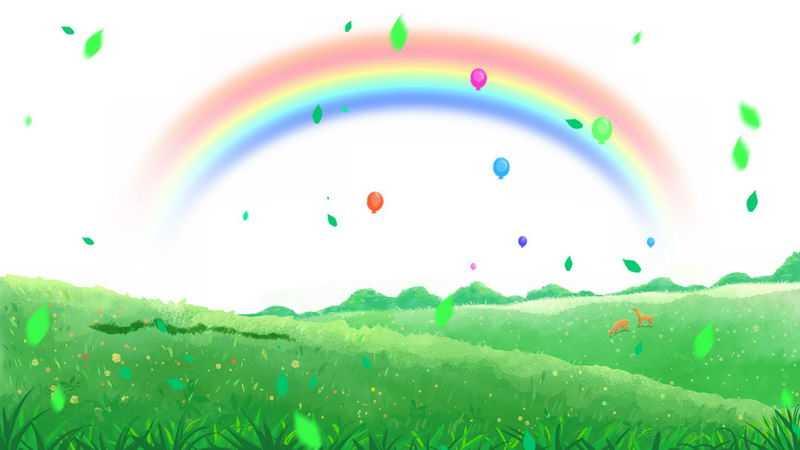 春天里绿色大地青绿色的草地和彩虹乡村风景图6432473png图片免抠素材