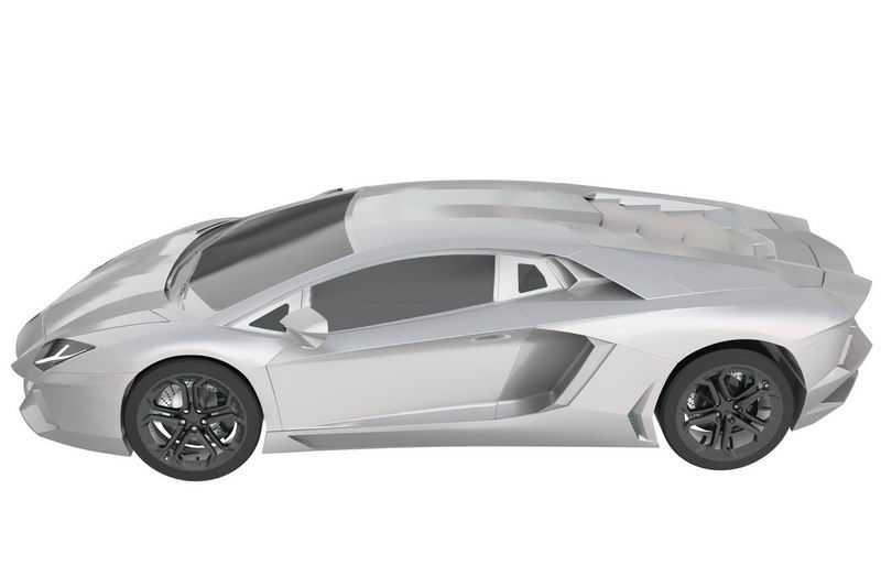 一辆白色的兰博基尼Aventador超级跑车模型侧视图6225778png图片免抠素材