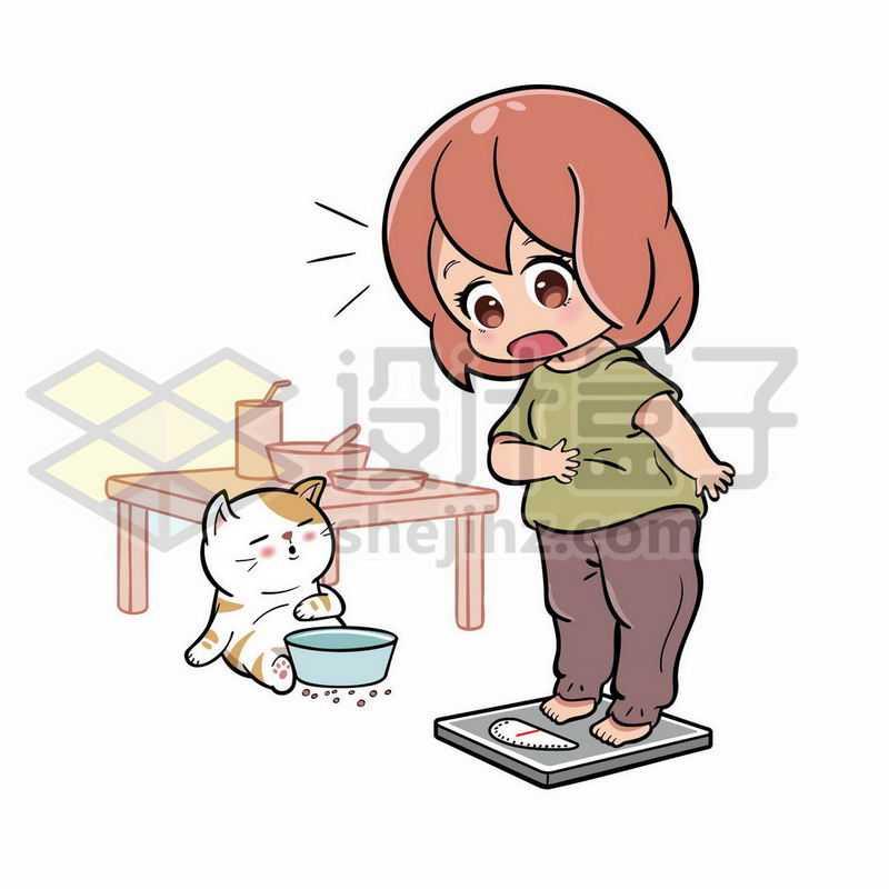 卡通女孩站在体重秤上吃太多减肥8796438矢量图片免抠素材