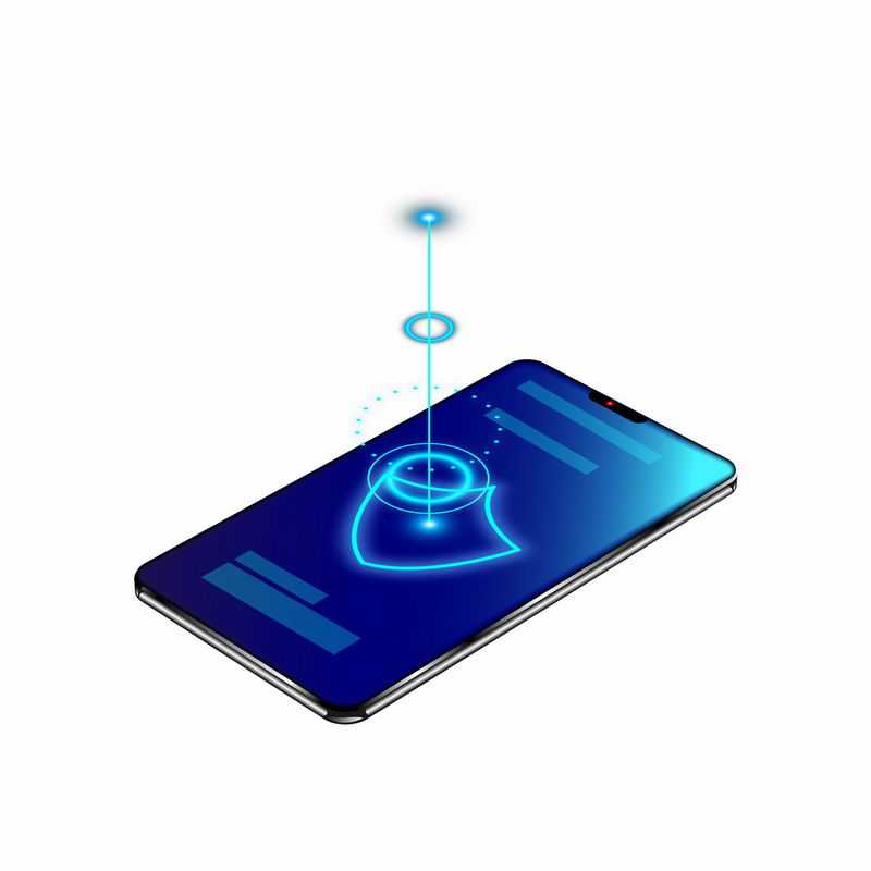 蓝色手机上的发光盾牌形状和光圈象征了手机安全信息安全5256657矢量图片免抠素材