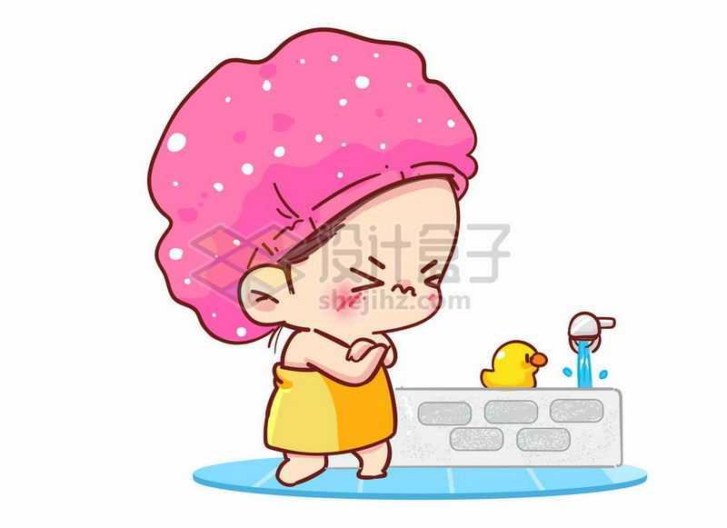 卡通小女孩准备洗澡时候发现洗澡水漫过了浴缸3655172矢量图片免抠素材