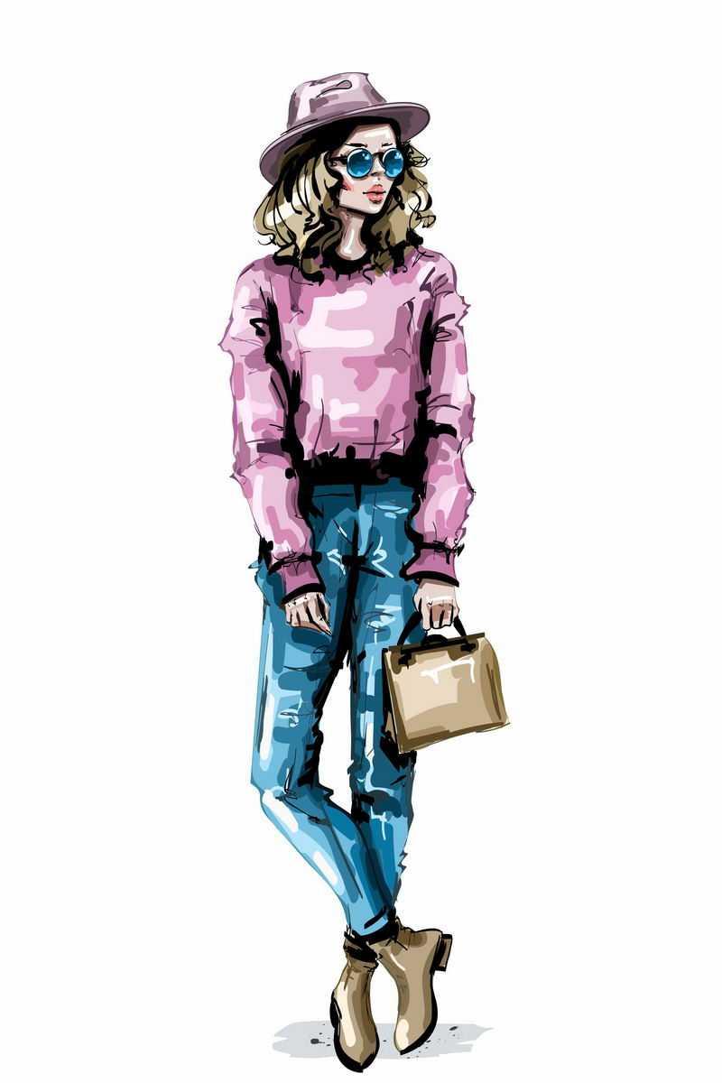戴着草帽和粉色上衣蓝色牛仔裤的时尚长腿美女手绘插画9416424图片免抠素材