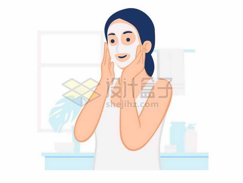 正在贴面膜的女孩插画7816647矢量图片免抠素材
