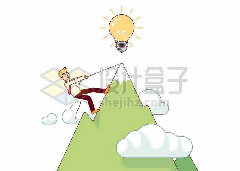 卡通男人正在登山攀登山巅4909471矢量图片免抠素材